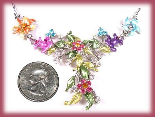 Jasmine Floral Necklace Earring Set Swarovski Crystals New image 3