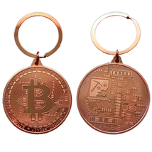 Gold Plated Bitcoin Coin Key Chain BTC Coin Art Collection Design Key Ring Gift image 6