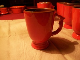 """Frankoma """"Flame Glaze"""" footed mugs C12 - Set of 8 Red/Orange and Brown - $32.00"""