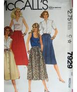 McCalls 7929 Front Button Skirt Vintage 80s Pattern Size Med (Waist 28-... - $5.95