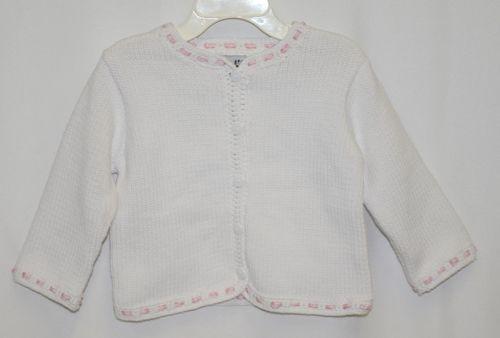 Fingerprints New York White Pink Ribbon button Sweater 6 Month