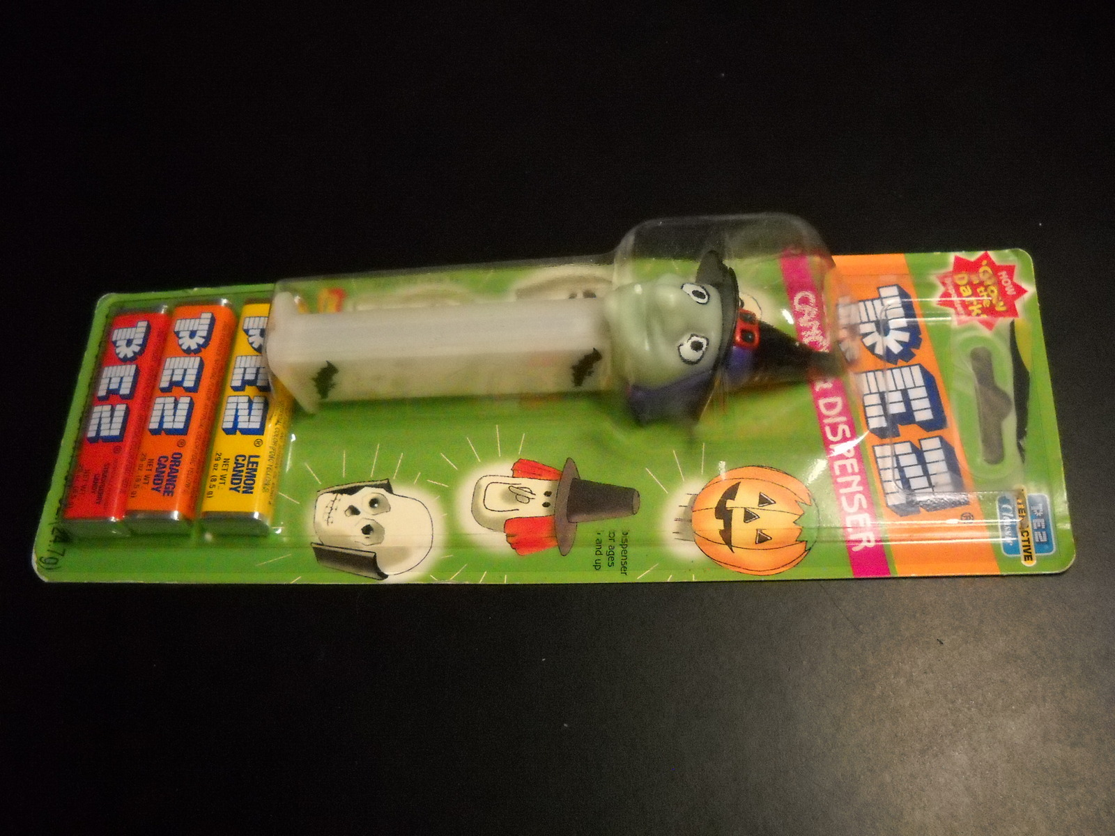 Pez Candy Dispenser and Candy 2002 Glow in the Dark Witch Unused Sealed on Card image 3