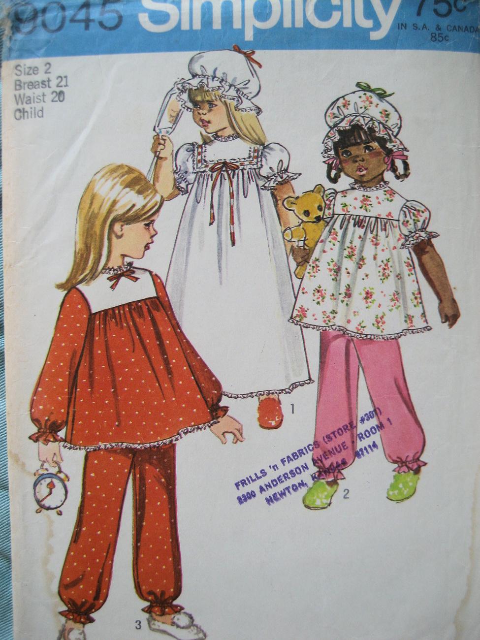 Vintage70s Pattern Girls Size 2  PJs Nightcap S9045 Simplicity New Look