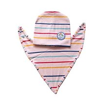 Baby Bib and Hood Suit Multi-color Stripe Pattern Babies Saliva Towels