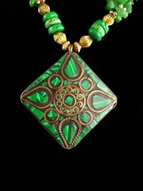 Malachite tribal necklace / Vintage Irish Gift / green necklace / estate... - $125.00