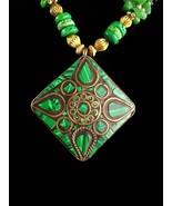Malachite tribal necklace / Vintage Irish Gift / green necklace / estate... - $125.00