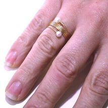 18K ROSE GOLD MAGICWIRE BAND RING, ELASTIC WORKED MULTI WIRES, PEARLS, SNAKE image 3