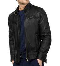 New Men's  Biker Leather Jacket, Black Trendy Stylish Motorbike Leather ... - $149.99+