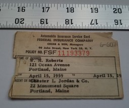 Home Treasure Automobile Insurance Service Card Federal Co 1959 Portland... - $4.74