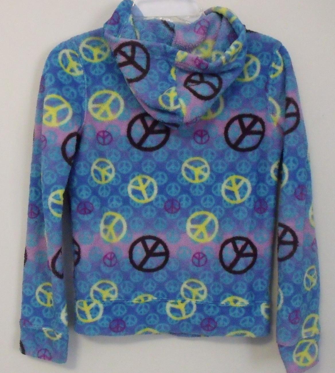 Girls Energie Blue Multi Color Fleece Hooded Full Zip Long Sleeve Jacket Size M