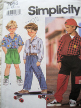 Simplicity 7956  Boys Pants Shorts Shirt Sewing Pattern Size 7 to 12 1990s - $5.95
