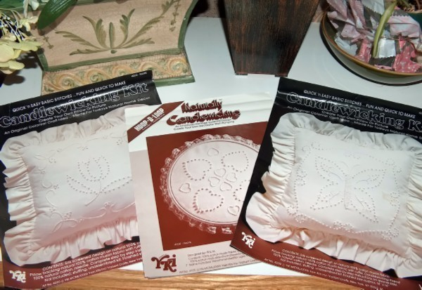 Set of Four Vintage Candlewicking Kits Partially Completed