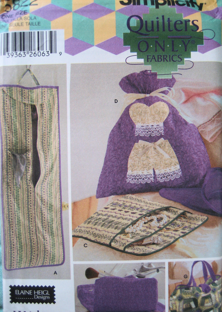 Simplicity 5822 New Craft Sewing Personal Travel Items Patte Simplicity