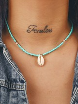 Love Comes Sweetly- Beaded Necklace with Natural Cowrie Shell Pendant-Ad... - $14.99