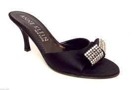 New ANNE KLEIN Size 6.5 Black Silk Slide Heels w/ Crystals Sandals Shoes 6 1/2 - $71.10