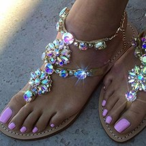 Women Sandals Flat Flip Flops Strappy Crystal Shoes Gladiator New Beach Crocs - $23.97+