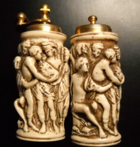 Italy Salt and Pepper Shaker Set Raised Scene Pepper Grinder Vintage Res... - $13.99