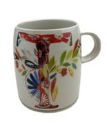 Starla M Halfmann Anthropologie Monogram Letter T Floral Coffee Cup Mug 12 oz - $14.69