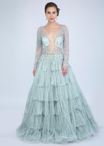 Beautiful Aqua Blue Net Gown6034 - $1,169.00