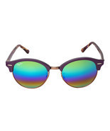 Ray Ban Clubround RB4246 1221C3 51 Violet Frame Raindow Mirrored Lens Su... - $249.23 CAD