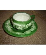 Portugal Faria & Bento Hand Painted Green Cup And Saucer  - $12.15