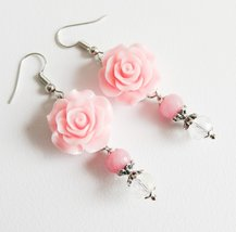 Pink flower earrings, romantic floral jewelry, pink jewelry - $11.45