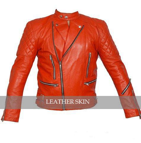 Red Hot Brando Shoulder Quilted Biker Motorcycle Leather Jacket w/ YKK Zipper