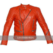 Red Hot Brando Shoulder Quilted Biker Motorcycle Leather Jacket w/ YKK Zipper - $179.99