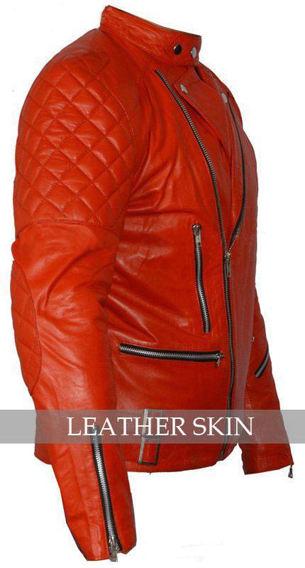 Red Hot Brando Shoulder Quilted Biker Motorcycle Leather Jacket w/ YKK Zipper image 2