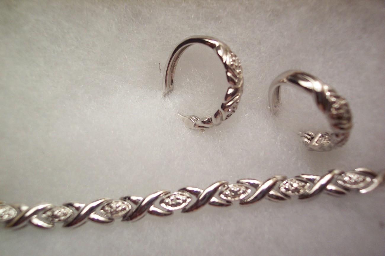 Sterling Silver Diamond X Bracelet & Earring Set