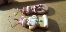 Gingerbread Santa and Snowman Earrings Cyber Monday Sales Hand Made In USA - $19.99