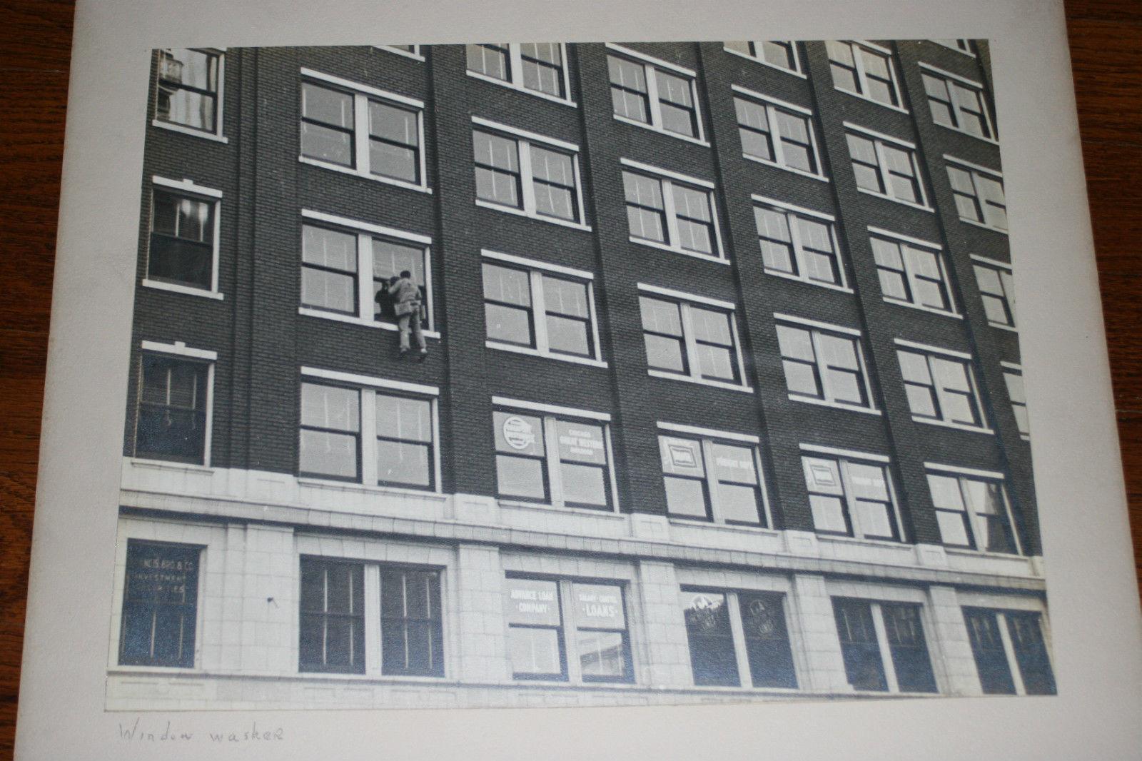 BLACK & WHITE SILVER GELATIN PHOTOGRAPH TITLED WINDOW WASHER
