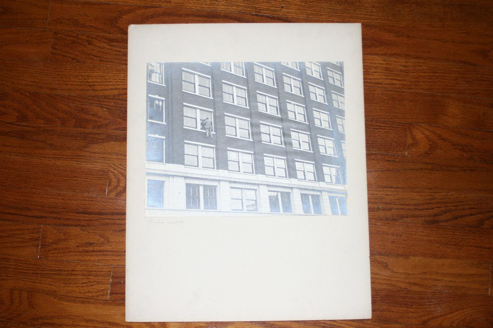 BLACK & WHITE SILVER GELATIN PHOTOGRAPH TITLED WINDOW WASHER image 2