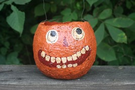Halloween Paper Mache Candy Container Jack O Lantern Pumpkin Vintage Decoration image 1