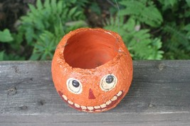 Halloween Paper Mache Candy Container Jack O Lantern Pumpkin Vintage Decoration image 2