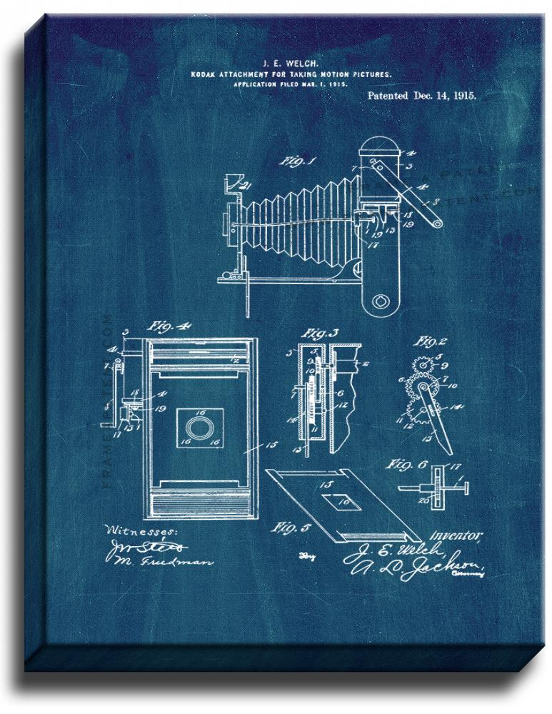 Primary image for Kodak Attachment for Taking Motion-pictures Patent Print Midnight Blue on Canvas