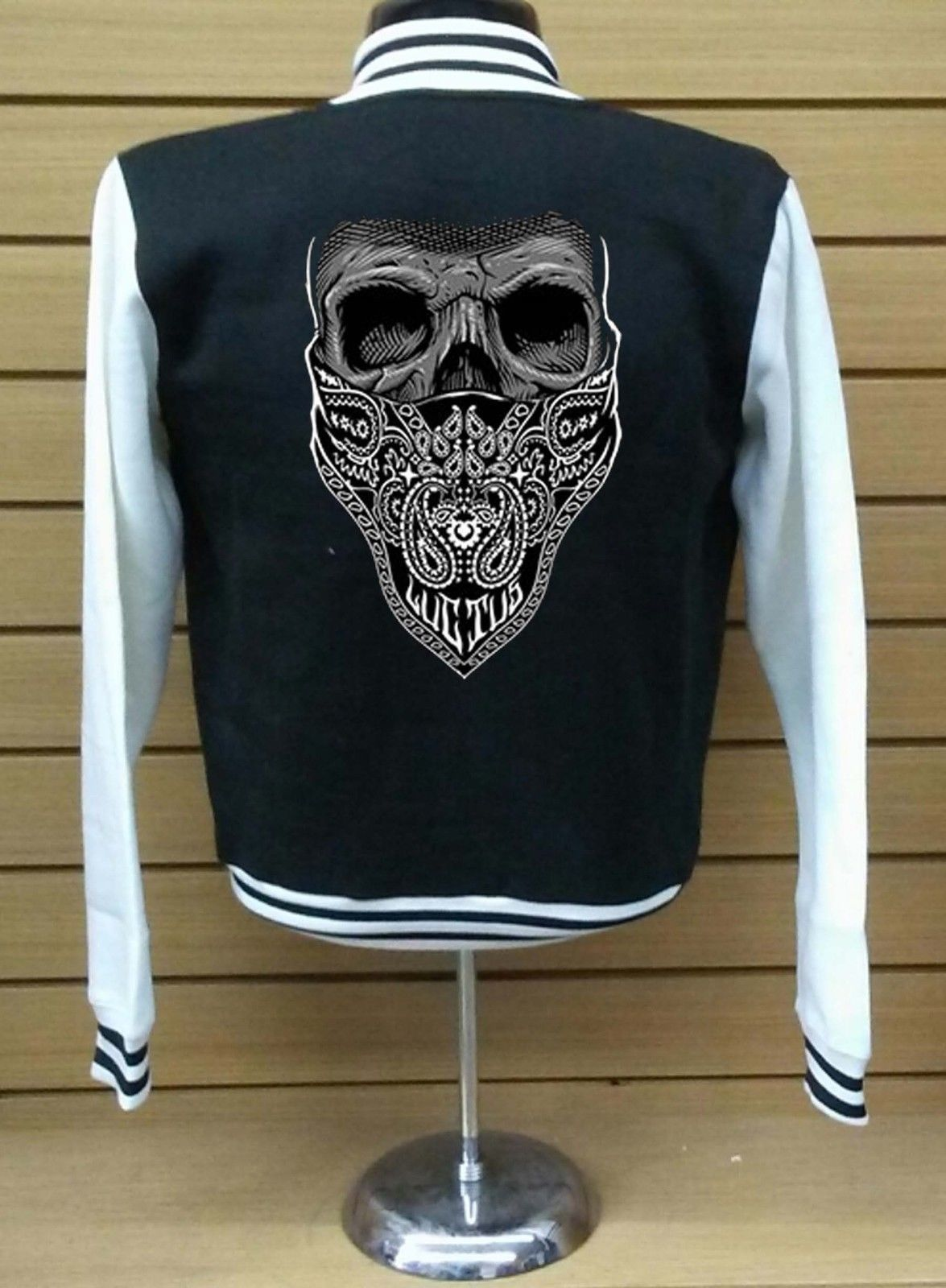 Skull Bandana Biker  LETTERMAN VARSITY BASEBALL BLACK/WHITE FLEECE JACKET image 3