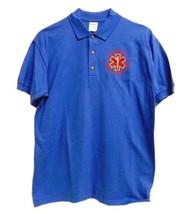 EMT Polo Shirt Emergency Medical Technician L Star of Life Royal Blue Silver SS - $26.16