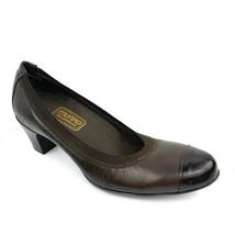 MUNRO AMERICAN 'Odette' Brown Leather Cap toe Mid Heels Women's Size 7 N... - $39.59