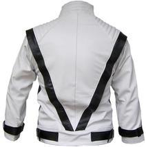 NWT Michal Jackson Commercial Ad White w/ Black Stripes Genuine Leather Jacket image 2