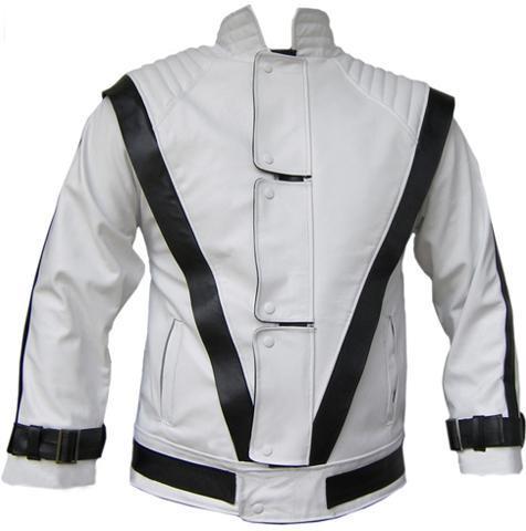 NWT Michal Jackson Commercial Ad White w/ Black Stripes Genuine Leather Jacket