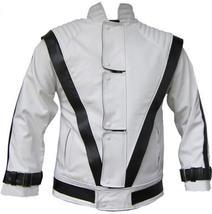NWT Michal Jackson Commercial Ad White w/ Black Stripes Genuine Leather Jacket image 1