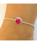 Sterling Silver Round Ruby Dyed Corundum Bracelets 925 Silver Ruby Brace... - $35.85