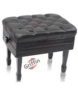 Genuine Leather Adjustable Piano Bench by GRIFFIN - Black Solid Wood Vin... - $275.95