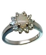 14k Australian Opal & Aquamarine Ring, FREE SIZING - $289.00