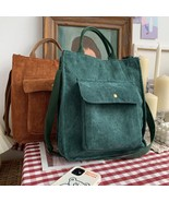 Hylhexyr Corduroy Shoulder Bag Women Vintage Shopping Bags Zipper Girls Student  - $26.00