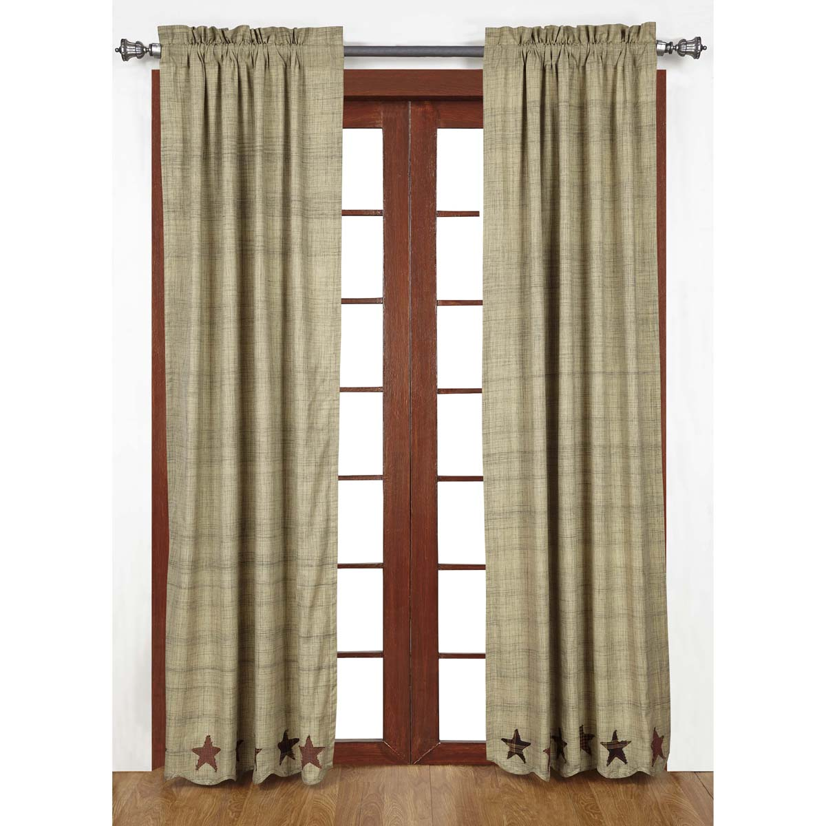 ABILENE STAR Long Panels - Set of 2 - 84x40 - Burgundy/Tan/Brown - VHC Brands