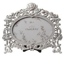 ovale floral vigne style vintage Metalique Cadre Photo 20cm x 18cm - $36.47