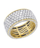 Men's 14K Yellow Gold Over Silver 3D Eternity Diamond Wedding Ring Band ... - $199.99