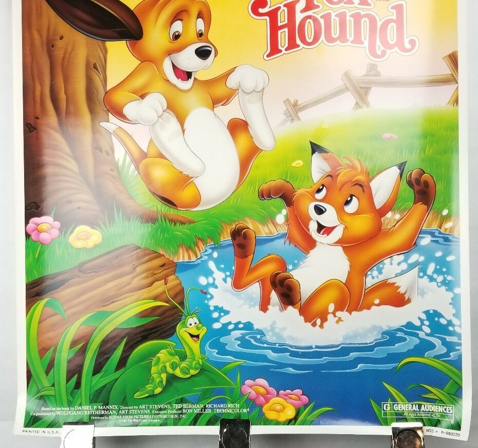 "The Fox & the Hound Walt Disney Movie Poster 40""x26"" 1981 Original Rolled Ship image 3"